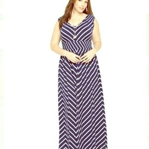 TORRID MITERED STRIPED MAXI DRESS